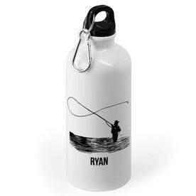 Fly Fishing 20 oz. Stainless Steel Water Bottle - Fisherman Silhouette