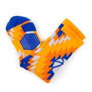 Basketball Woven Mid-Calf Socks - Aztec (Navy/Orange)