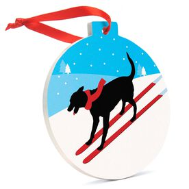 Skiing Round Ceramic Ornament - Skiing Dog
