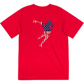 Guys Lacrosse Short Sleeve Performance Tee - American Flag Silhouette