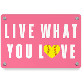 Softball Metal Wall Art Panel - Live What You Love