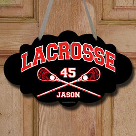 Lacrosse Cloud Room Sign Personalized Lacrosse with Crossed Sticks
