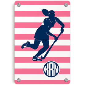 Field Hockey Metal Wall Art Panel - Shootout Stripes With Monogram
