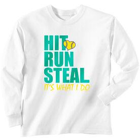Softball T-Shirt Long Sleeve Hit Run Steal
