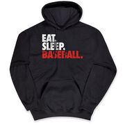 Baseball Hooded Sweatshirt - Eat. Sleep. Baseball. [Black/Youth Large] - SS