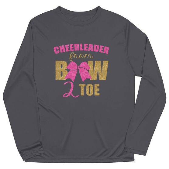 Cheerleading Long Sleeve Performance Tee - Cheerleader From Bow 2 Toe
