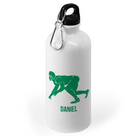 Football 20 oz. Stainless Steel Water Bottle - Football Linebacker Silhouette