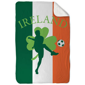 Soccer Sherpa Fleece Blanket Ireland Soccer