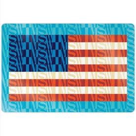 "Swimming 18"" X 12"" Aluminum Room Sign - American Flag Mosaic"