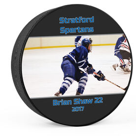 Personalized Photo with Text (Wide) Hockey Puck