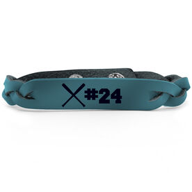 Baseball Leather Engraved Bracelet Crossed Bats with Number