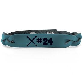 Baseball Leather Engraved Bracelet Crossed Bats with Number