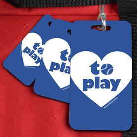 Softball Bag/Luggage Tag Heart to Play (Softball)