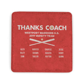 Baseball Stone Coaster - Thanks Coach Roster