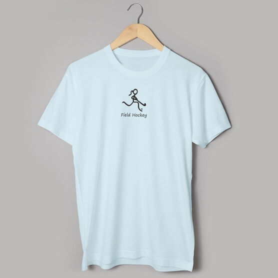 Field Hockey Tshirt Short Sleeve Field Hockey Girl Black Stick Figure with Word