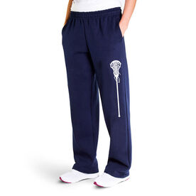 Girls Lacrosse Fleece Sweatpants - Large Stick