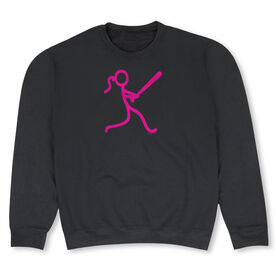 Softball Crew Neck Sweatshirt - Neon Stick Figure Girl (SB)