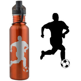 Soccer Player Silhouette (M) 24 oz Stainless Steel Water Bottle