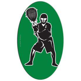 Lacrosse Oval Car Magnet Goalie