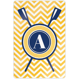 "Crew 18"" X 12"" Aluminum Room Sign - Single Letter Monogram with Crossed Oars and Chevron"