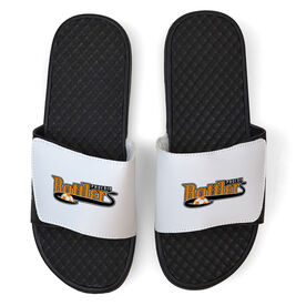 Soccer White Slide Sandals - Your Logo
