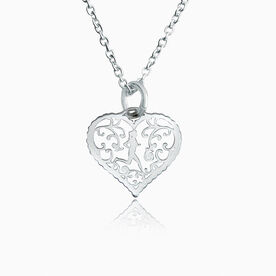 Livia Collection Sterling Silver Filigree Runner Heart Necklace