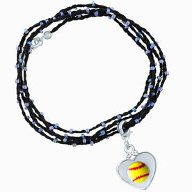 Softball Beaded Wrap Bracelet - Yellow Softball in Silver Heart
