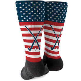 Field Hockey Printed Mid-Calf Socks - USA Stars and Stripes