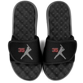Softball PR SOLES® Adjustable Strap Recovery Slide Sandals - Batter Silhouette with Number
