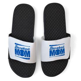 Baseball White Slide Sandals - Baseball Mom