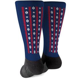 Football Printed Mid-Calf Socks - Patriotic Pattern