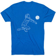 Volleyball Short Sleeve T-Shirt - Volleyball Girl Player Sketch
