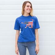 Girls Lacrosse T-Shirt Short Sleeve Patriotic LuLa the Lax Dog