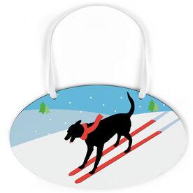 Skiing Oval Sign - Vintage Dog