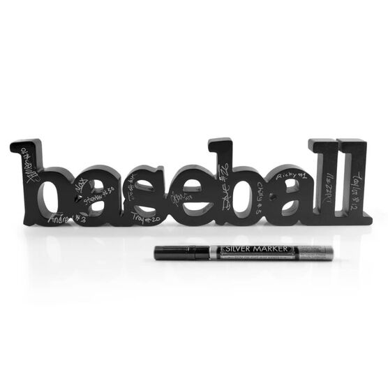 Baseball Wood Words Ready for Team to Autograph