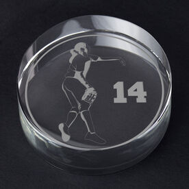 Softball Personalized Engraved Crystal Gift - Personalized Silhouette (Pitcher)