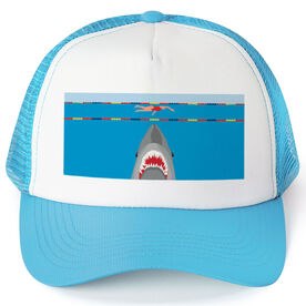 Swimming Trucker Hat - Shark Attack (Girl Swimmer)