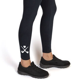 Field Hockey Leggings - Crossed Sticks With Heart