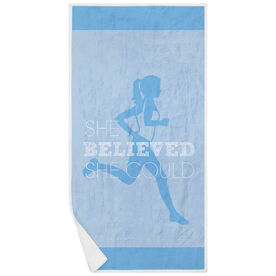 Running Premium Beach Towel - She Believed She Could