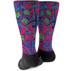 Gymnastics Printed Mid-Calf Socks - Floral Gymnast