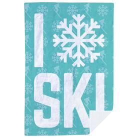 Skiing Premium Blanket - I Snowflake Ski