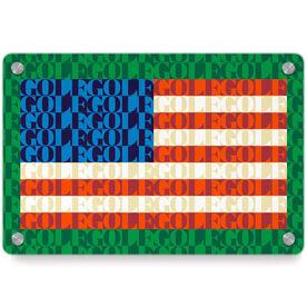 Golf Metal Wall Art Panel - American Flag Mosaic