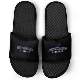 Guys Lacrosse Black Slide Sandals - Your Team Name