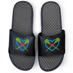 Girls Lacrosse Navy Slide Sandals - Lax Heart with Crossed Sticks