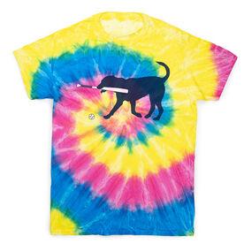 Baseball Short Sleeve T-Shirt - Navy Baseball Dog Tie Dye