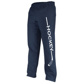 Hockey Fleece Sweatpants Hockey Stick with Word