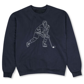 Hockey Crew Neck Sweatshirt - Hockey Player Sketch