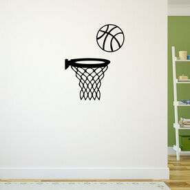 Basketball in Hoop Removable ChalkTalkGraphix Wall Decal