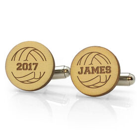 Volleyball Engraved Wood Cufflinks Ball with Your Year and Name