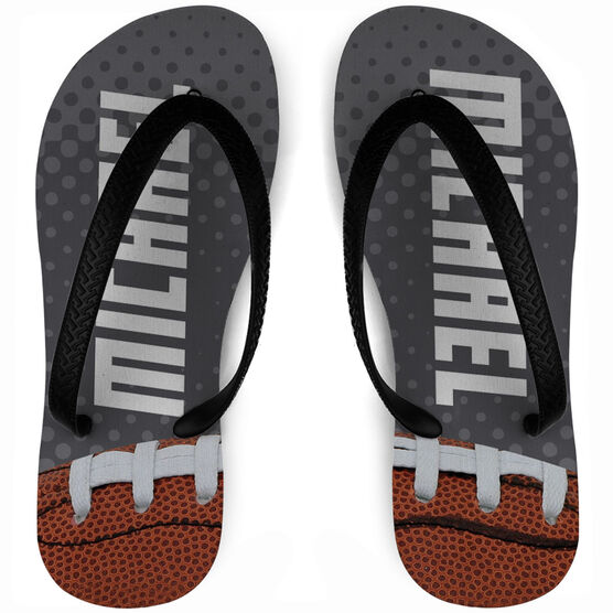 Football Flip Flops Personalized with Dots